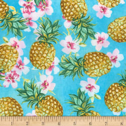 Timeless Treasures Oasis Pineapples Blue Fabric