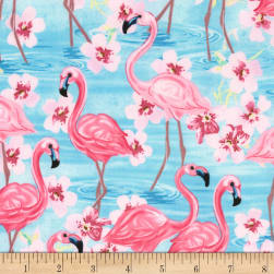 Timeless Treasures Oasis Flamingos with Floral Pink Fabric