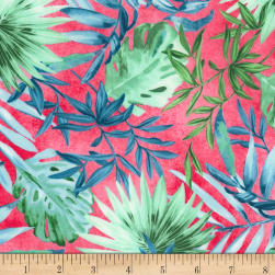 Timeless Treasures Oasis Tropical Leaves Fuchsia Fabric