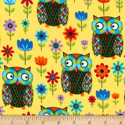 Timeless Treasures Owls Yellow