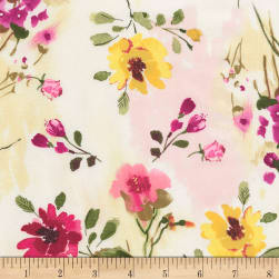 Timeless Treasures Muse Tossed Watercolor Floral Natural Fabric