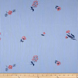 Embroidered Yarn Dyed Poplin Floral Stripe Chambray/Coral Fabric