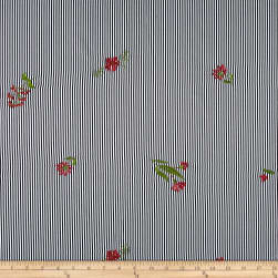 Embroidered Yarn Dyed Poplin Floral Stripe Grey/Red