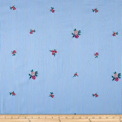 Embroidered Yarn Dyed Poplin Floral Stripe Chambray/Fuchsia