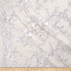 Stretch Floral Embroidered Mesh Lace Silver Fabric