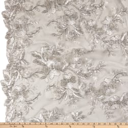 Stretch Floral Embroidered Mesh Lace Ivory/Silver Fabric
