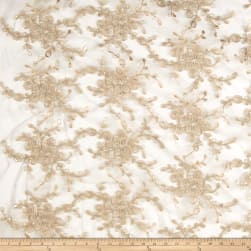 Embroidered Vines Mesh Lace Champagne Fabric