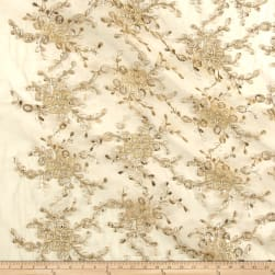 Metallic Corded Sequin Embroidered Mesh Lace Gold Fabric