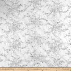 Iceberg Embroidered Mesh Lace Silver Fabric