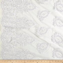 Bridal Corded Sequin Lace Netting White Metallic Fabric