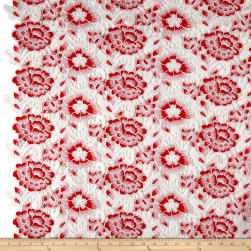 Floral Guipure Lace White/Red Fabric