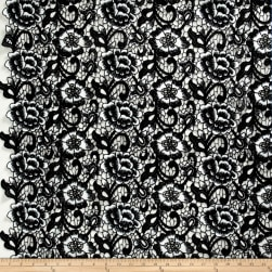 Floral Guipure Lace Black/White Fabric