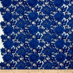 Floral Guipure Lace Denim Fabric