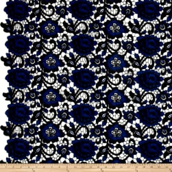 Floral Guipure Lace Royal/Black Fabric