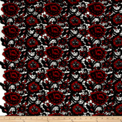Floral Guipure Lace Red/Black Fabric