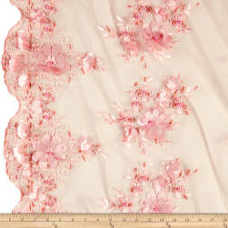 Stretch Floral Embroidered Mesh Lace Applique Blush Fabric