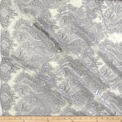 Medallion Sequin Lace Damask Silver Fabric