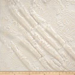 Medallion Embroidered Mesh Lace White