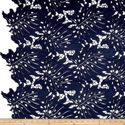 Palms Guipure Lace Navy Fabric