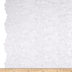 Heavyweight Embroidered Mesh Lace White