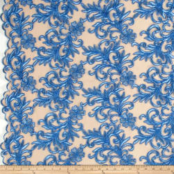 Heavyweight Embroidered Mesh Lace Blue Fabric