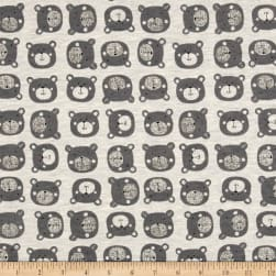 Stof Avalana Sweatshirt Fleece Teddy Bear Faces Grey Fabric