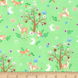 Timeless Treasures Storybook Forest Deer & Trees Mint