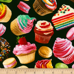 Timeless Treasures Sugar Rush Baked Goods Black Fabric