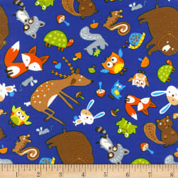 Timeless Treasures Foragers Tossed Woodland Animals Royal Fabric