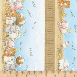 "Timeless Treasures Cotton Tale Farm 11"" Farm Stripe Sky"