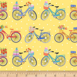 Enjoy The Journey Bicycles Yellow Fabric
