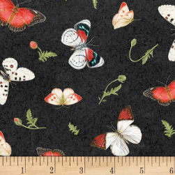 Poppy Perfection Tossed Butterflies Black Fabric
