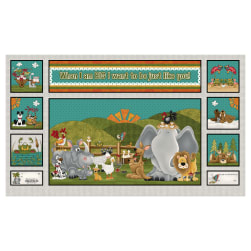 When I Am Big 24'' Whimsical Animal Block Panel Gray Fabric