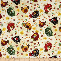 All Cooped Up All Over Chickens Beige Fabric
