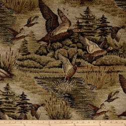 Marsh Ducks in Flight Jacquard Fabric