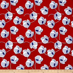Swimwear Flower Blooms Red/Navy