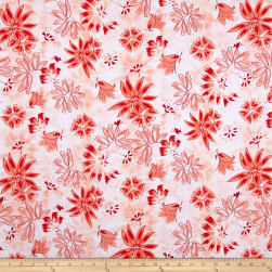 Swimwear Abstract Floral Coral Fabric