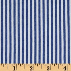 Rayon Challis Stripes Denim Blue