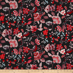 Rayon Challis Floral Garden Black/Red