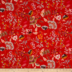 Rayon Challis Floral Garden Pink/Coral/Blue
