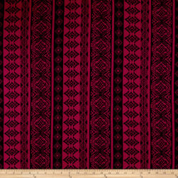 Double Brushed Printed Jersey Knit Aztec Stripe Black/Burgundy