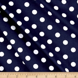 Double Brushed Poly Spandex Jersey Knit Polka Dots Navy/White