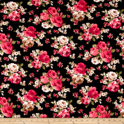 Double Brushed Printed Jersey Knit Roses Black/Coral