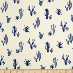 Double Brushed Poly Spandex Jersey Knit Cacti Ivory/Blue