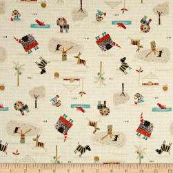 Savanna Safari Animals Beige Fabric