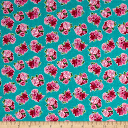 Berkshire Garden Floral Turquoise Fabric