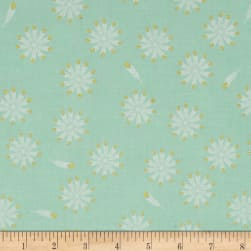 Riley Blake Safari Party Feathers Mint Metallic Fabric