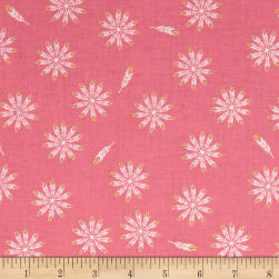 Riley Blake Safari Party Feathers Pink Metallic Fabric