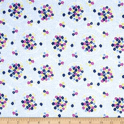 Riley Blake Blue Carolina Cluster White Fabric