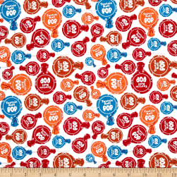 Riley Blake It's Tootsie Roll Time White Fabric